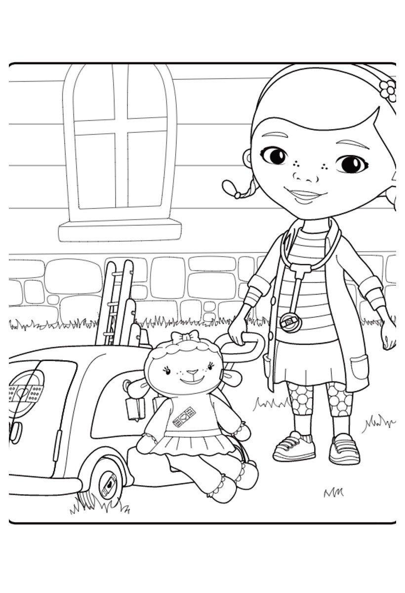 Дотти и Лэмми - Картинка для раскрашивания красками-гуашью