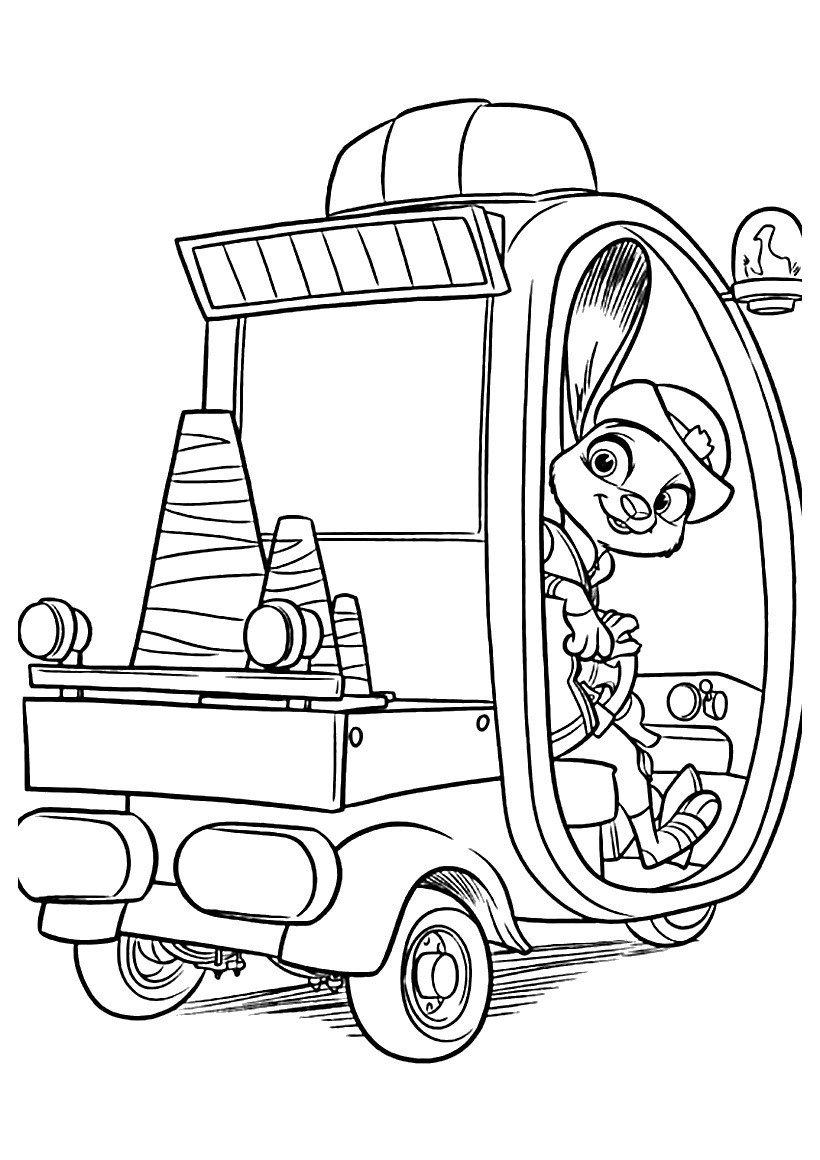 Джуди на машине - Картинка для раскрашивания красками-гуашью