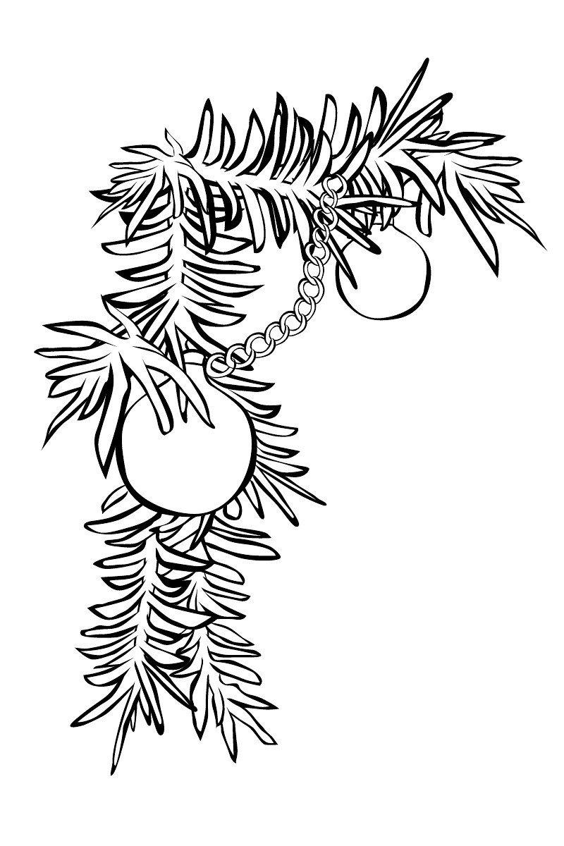 Еловая ветка с шариками - Картинка для раскрашивания красками-гуашью