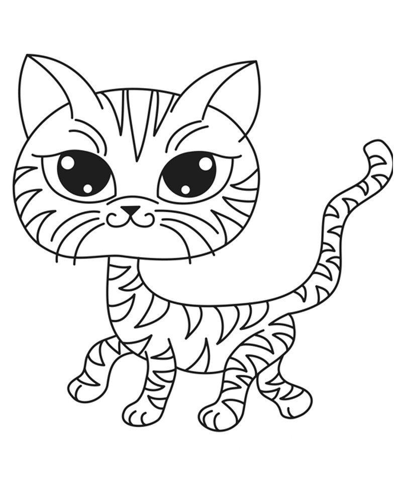 Головастый кот - Картинка для раскрашивания красками-гуашью