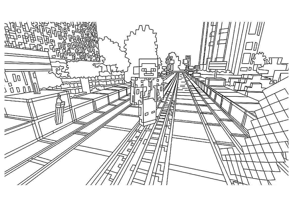 Город Майнкрафт - Minecraft - Картинка для раскрашивания красками-гуашью