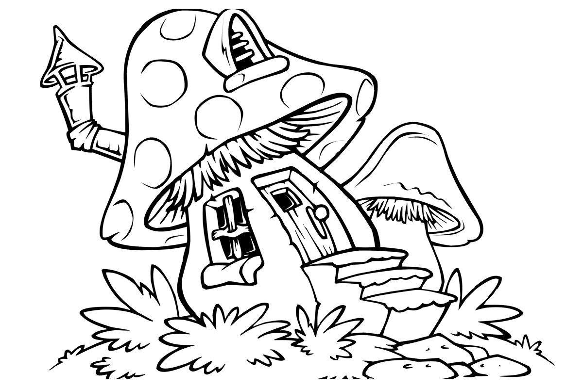 Грибной домик - Картинка для раскрашивания красками-гуашью