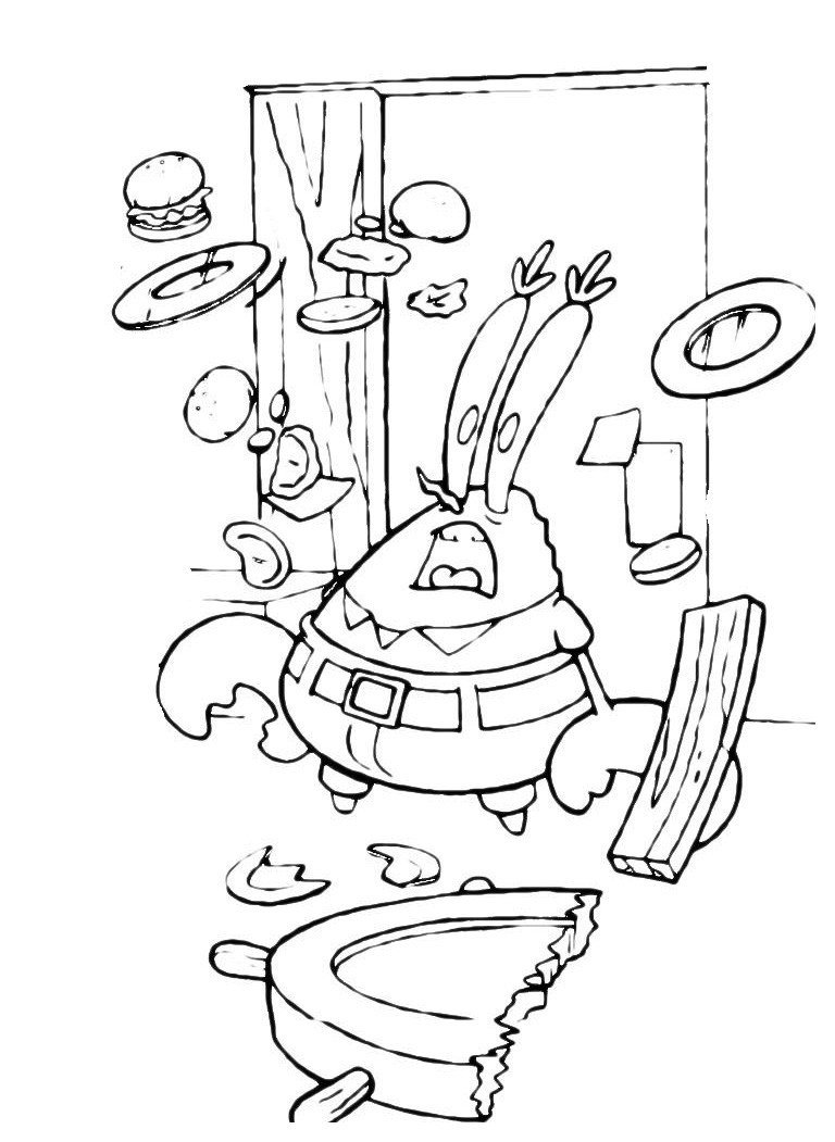 Губка Боб поварёнок - Картинка для раскрашивания красками-гуашью