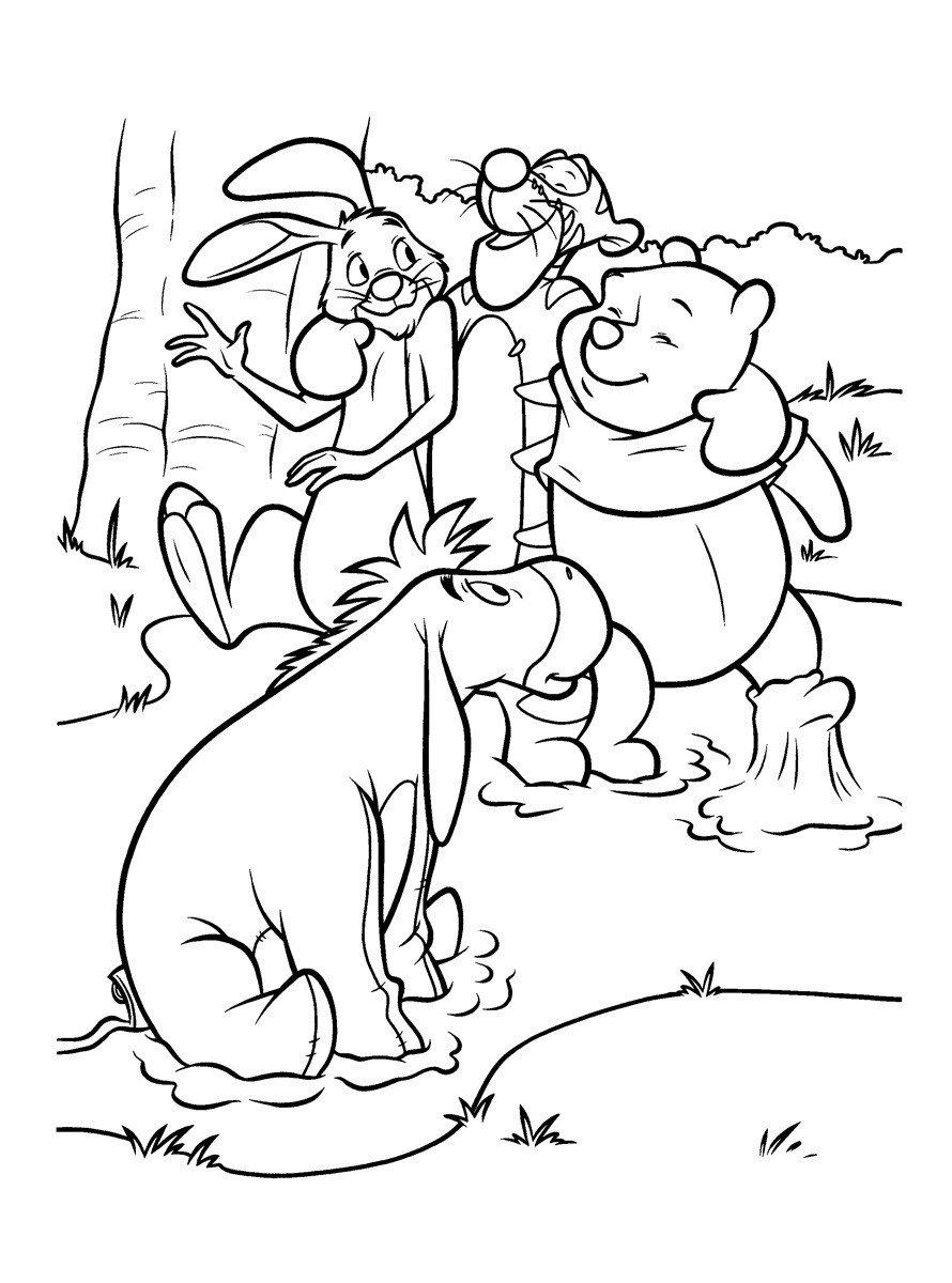 Картинка для раскраски «Иа-Иа с друзьями в речке мёда»