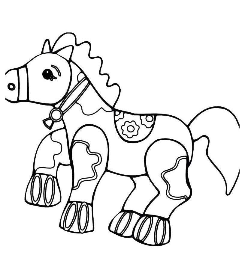 Игрушечная лошадка - Картинка для раскрашивания красками-гуашью