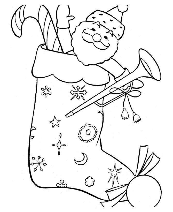 Картинка для раскраски «Игрушечный Дед Мороз в рождественском носке»