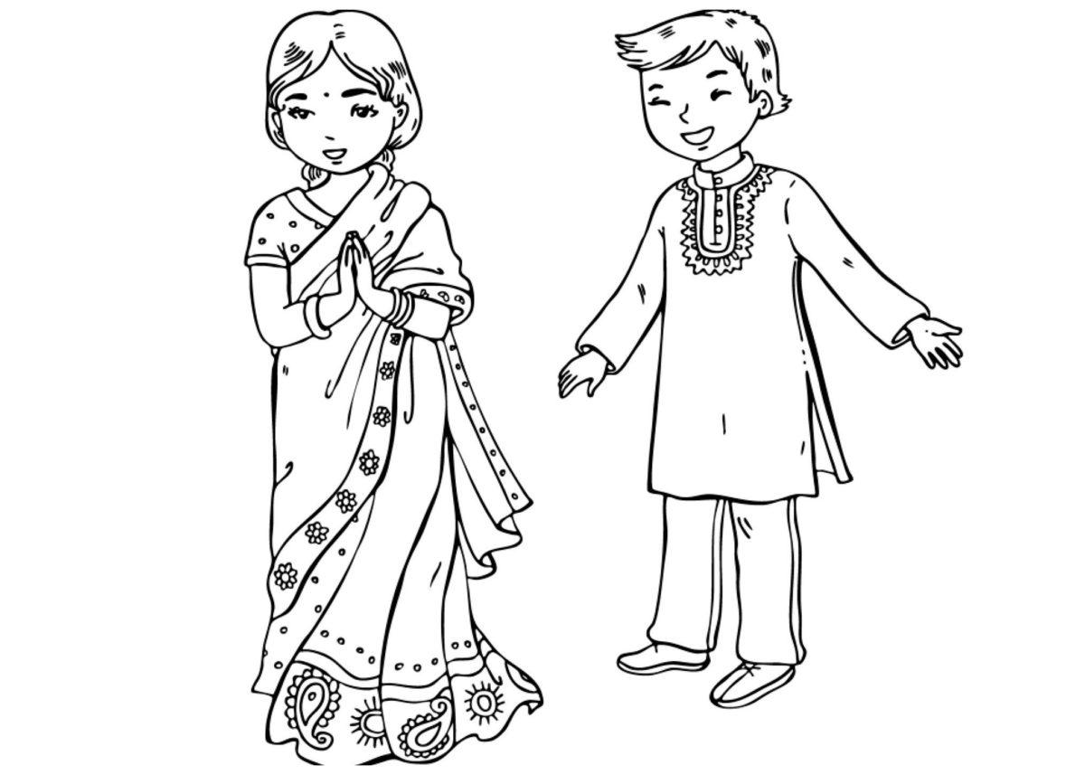 Индийские дети - Картинка для раскрашивания красками-гуашью