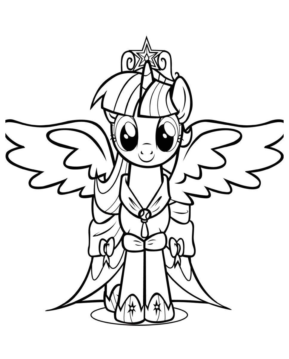 Искорка-принцесса - Картинка для раскрашивания красками-гуашью