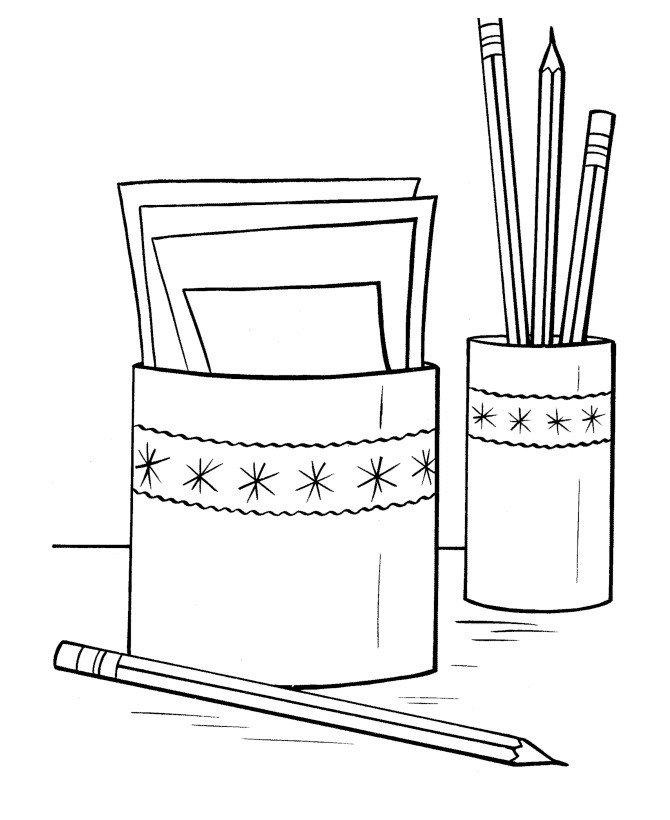 Карандаши и бумага - Картинка для раскрашивания красками-гуашью