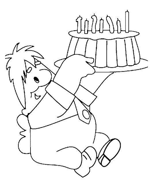 Карлсон и праздничный торт - Картинка для раскрашивания красками-гуашью