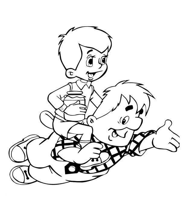 Карлсон катает Малыша - Картинка для раскрашивания красками-гуашью