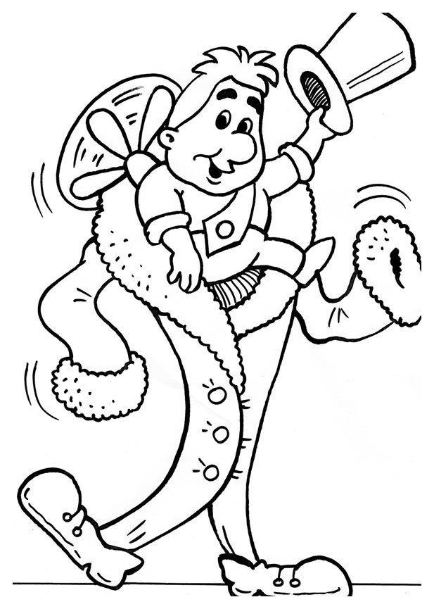 Карлсон оделся в привидение - Картинка для раскрашивания красками-гуашью