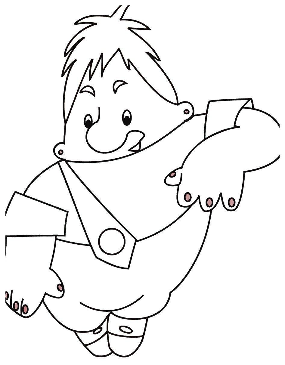 Картинка для раскраски «Карлсону немного неловко»