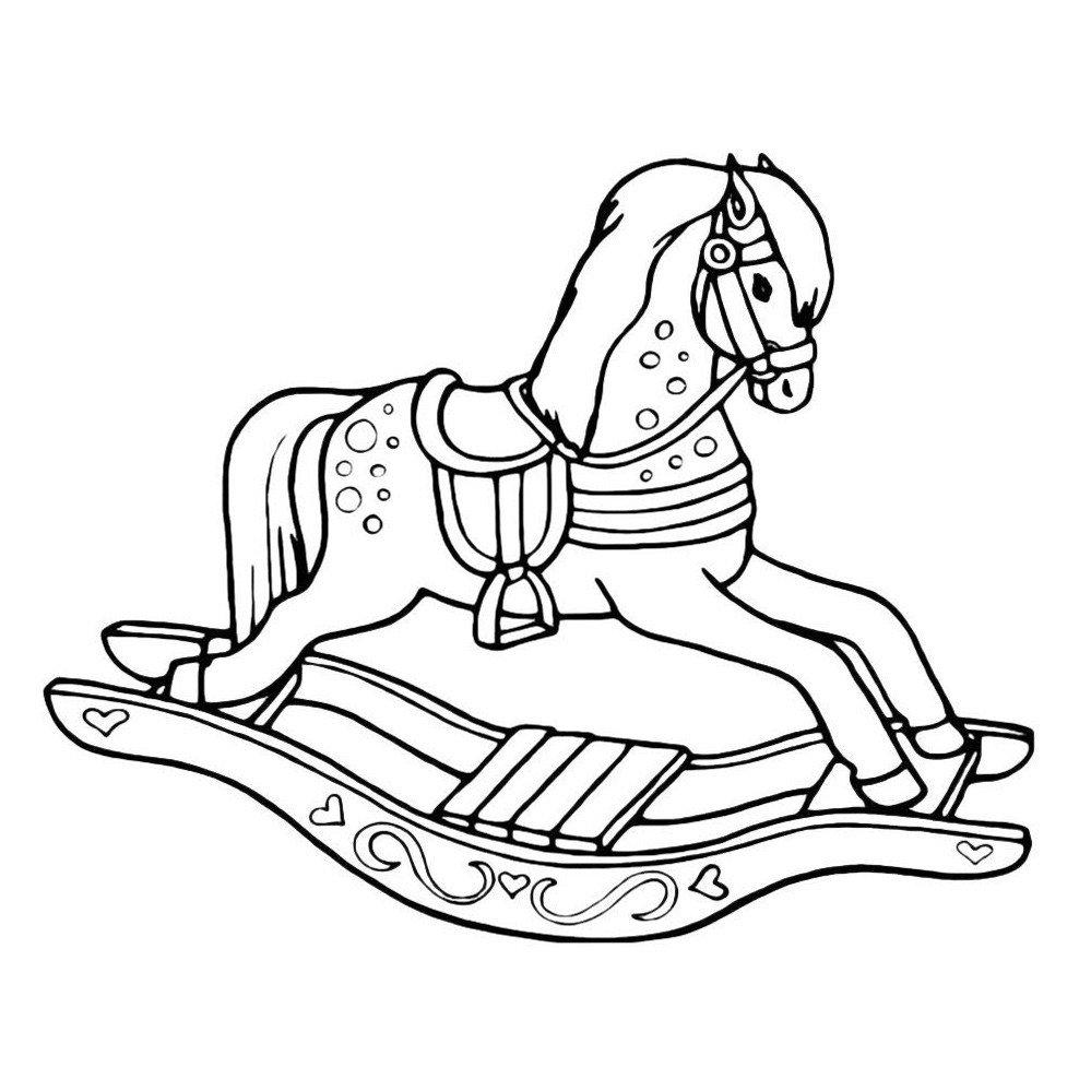 Катающаяся лошадь-игрушка - Картинка для раскрашивания красками-гуашью