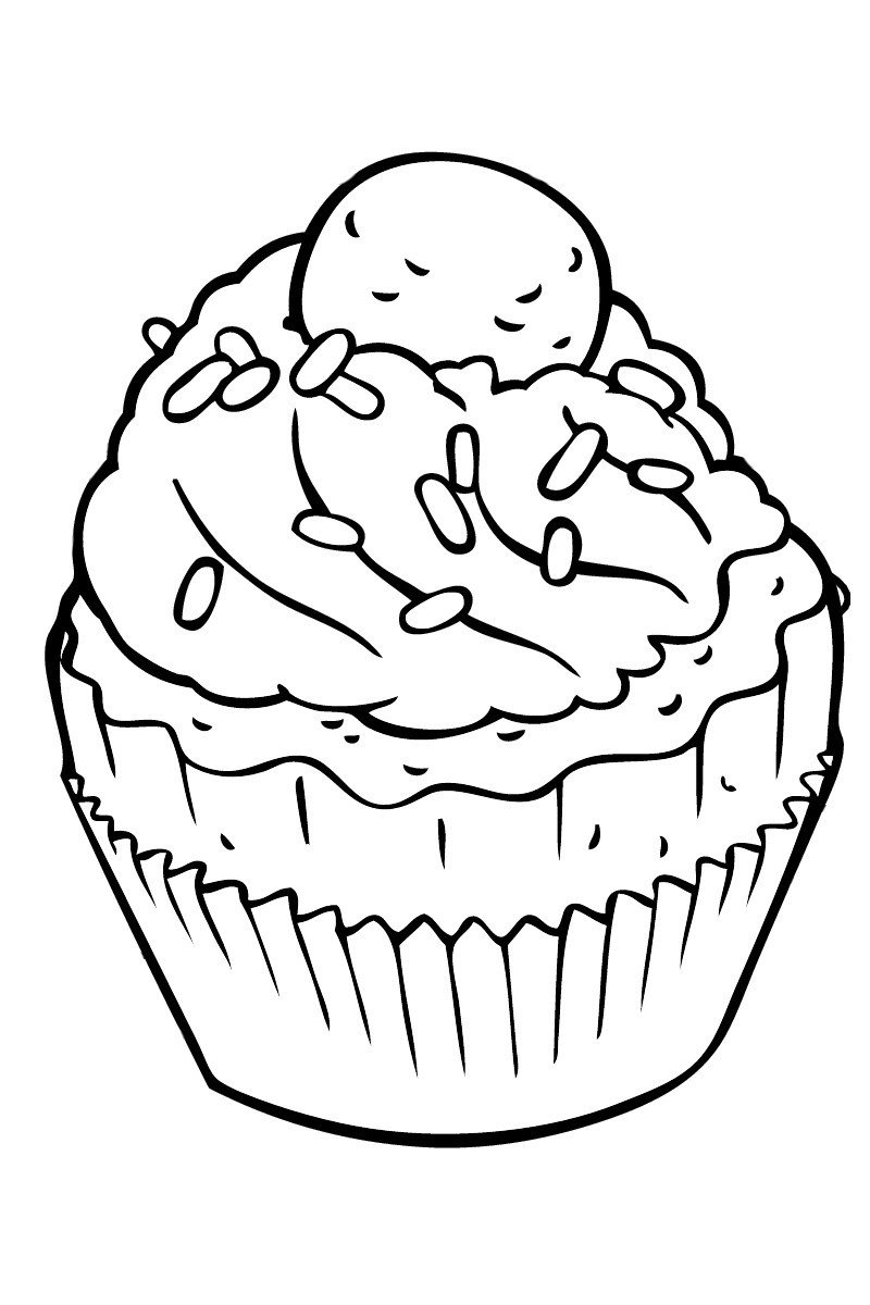 Кекс с фруктами - Картинка для раскрашивания красками-гуашью