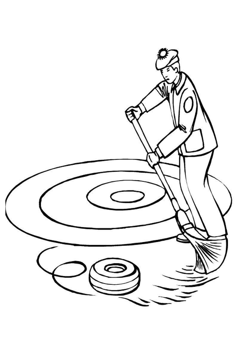 керлинг - Картинка для раскрашивания красками-гуашью