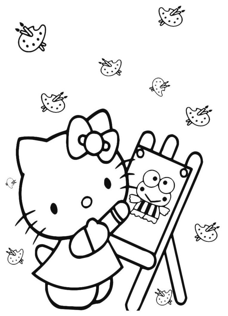Художница-Kitty - Картинка для раскрашивания красками-гуашью