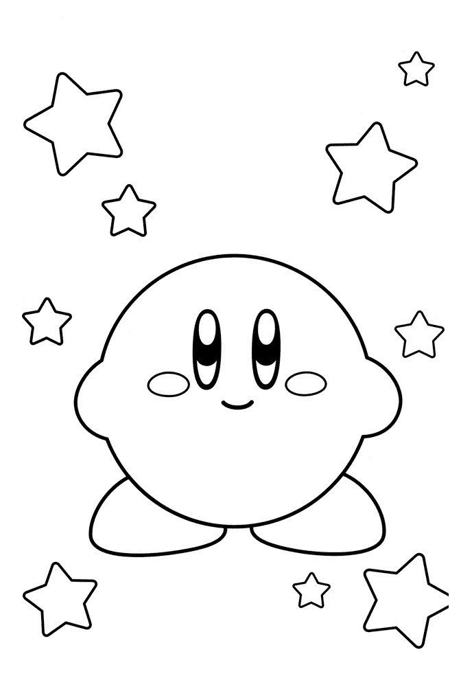 Кирби и звёздочки - Картинка для раскрашивания красками-гуашью