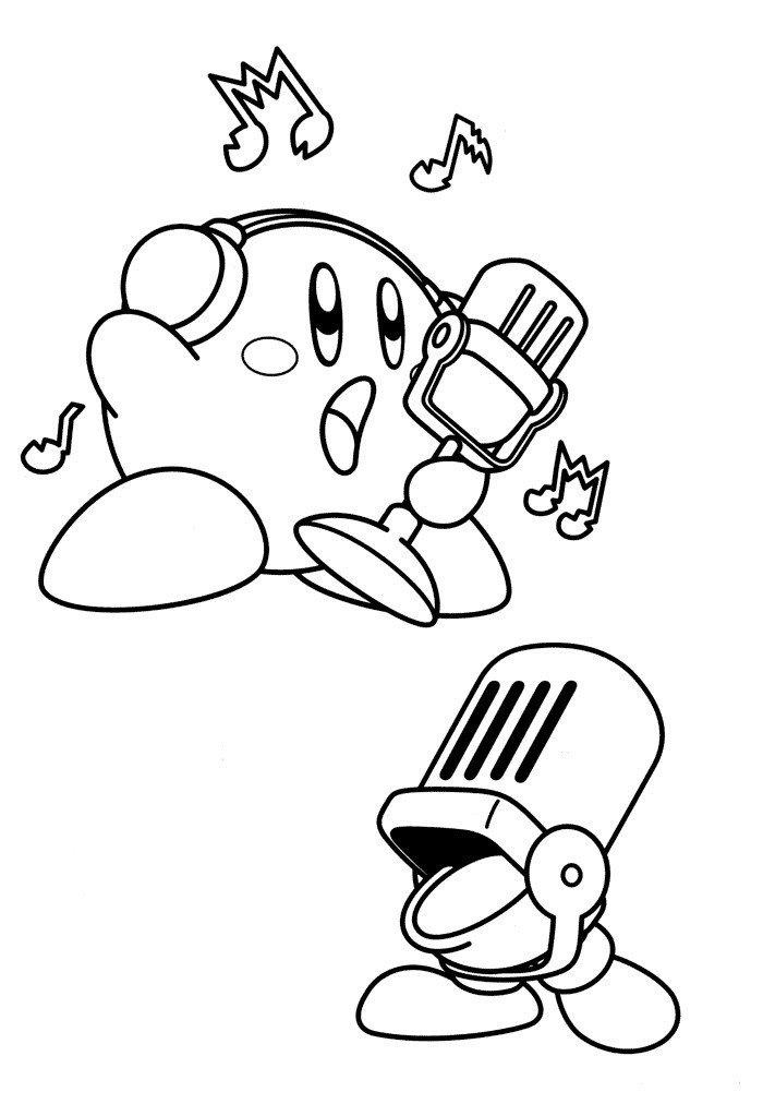 Кирби с микрофоном - Картинка для раскрашивания красками-гуашью