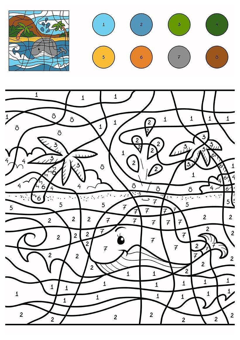 Картинка для раскраски «Кит возле острова по цифрам»