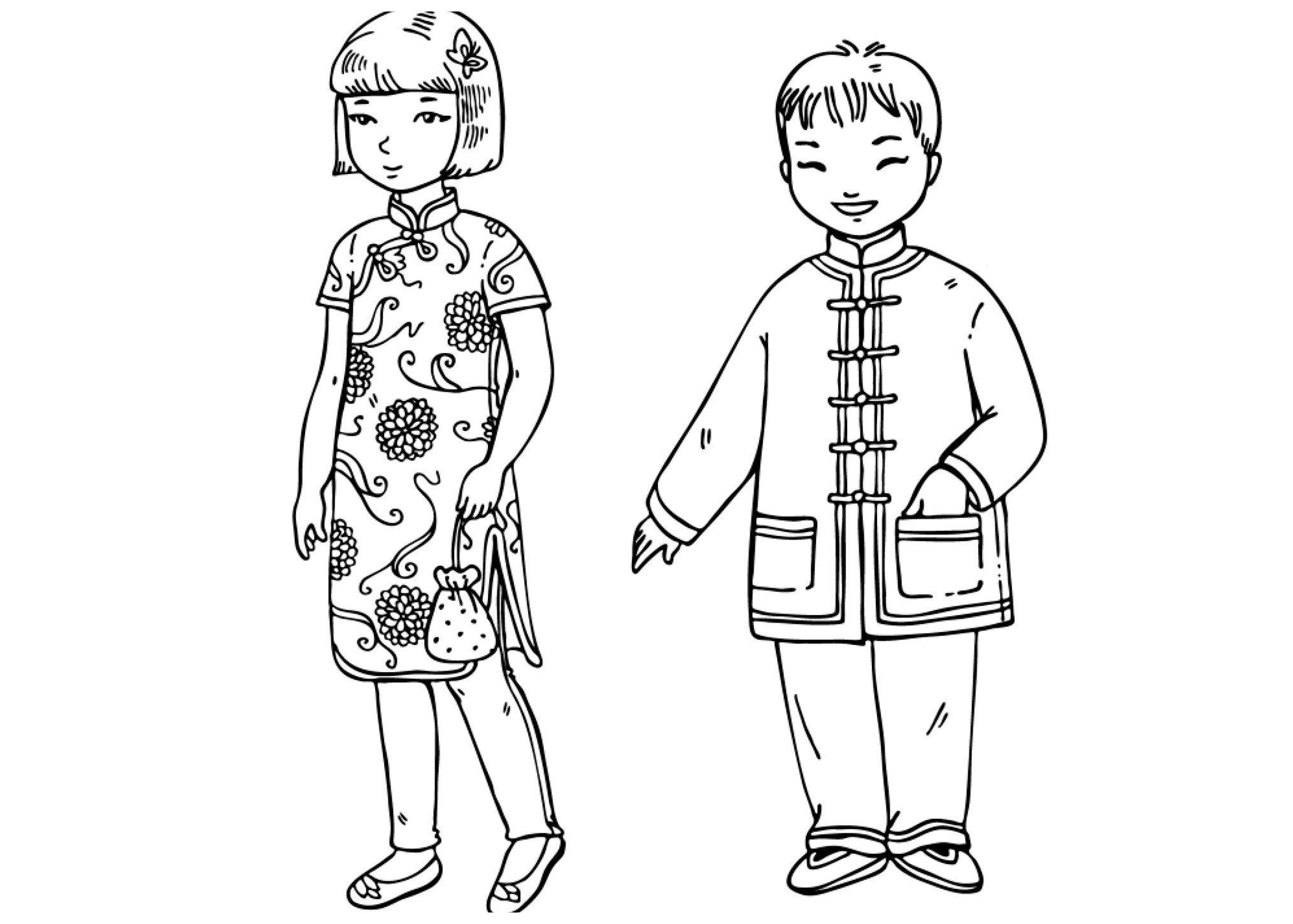 Китайские дети - Картинка для раскрашивания красками-гуашью