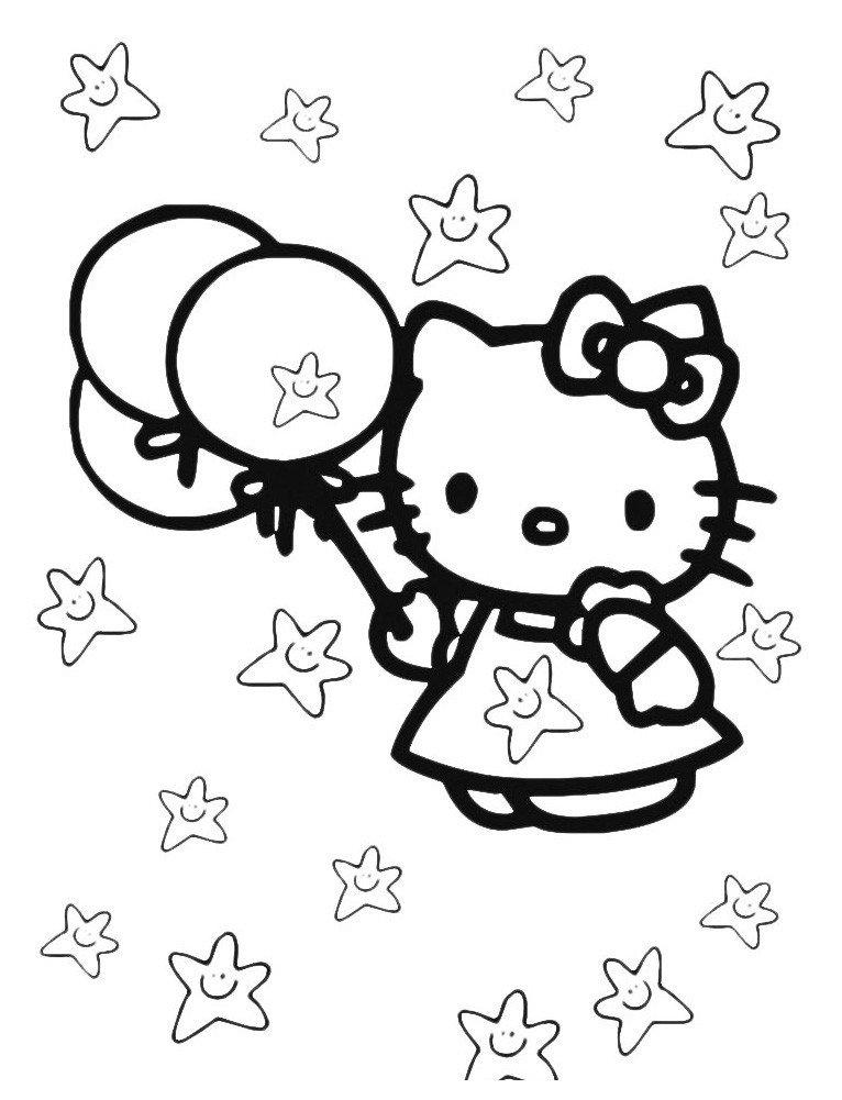 Китти и воздушные шарики - Картинка для раскрашивания красками-гуашью