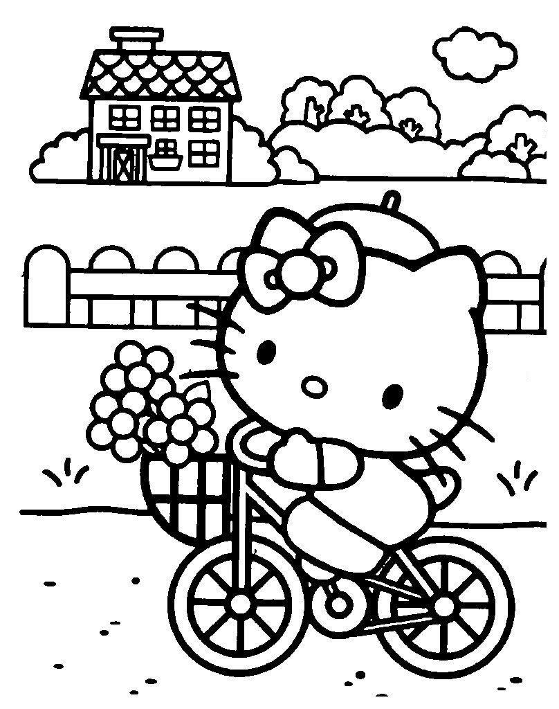 Китти на велосипеде собралась в магазин - Картинка для раскрашивания красками-гуашью