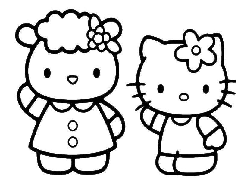 Картинка для раскраски «Китти с мамой»