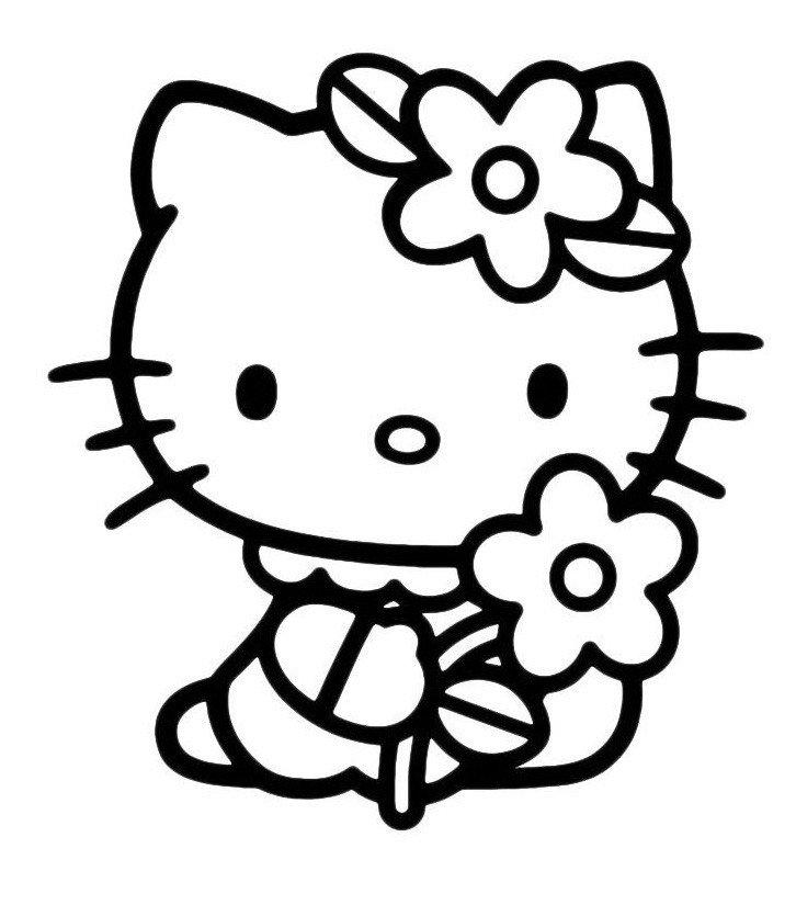 Картинка для раскраски «Китти с ромашкой»