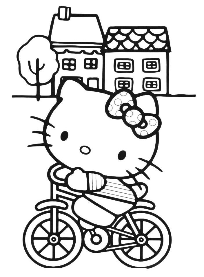 Картинка для раскраски «Kitty катится на велосипеде»