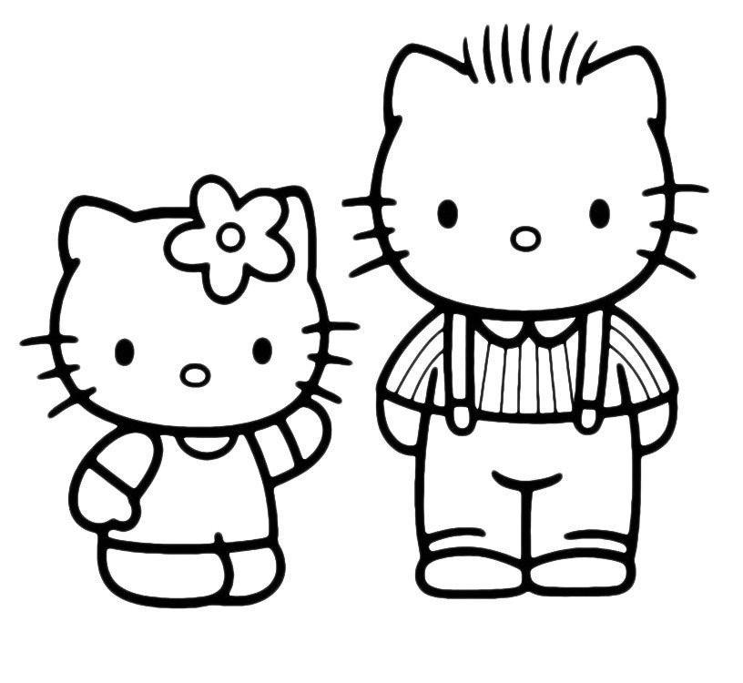 Kitty разговаривает с папой - Картинка для раскрашивания красками-гуашью
