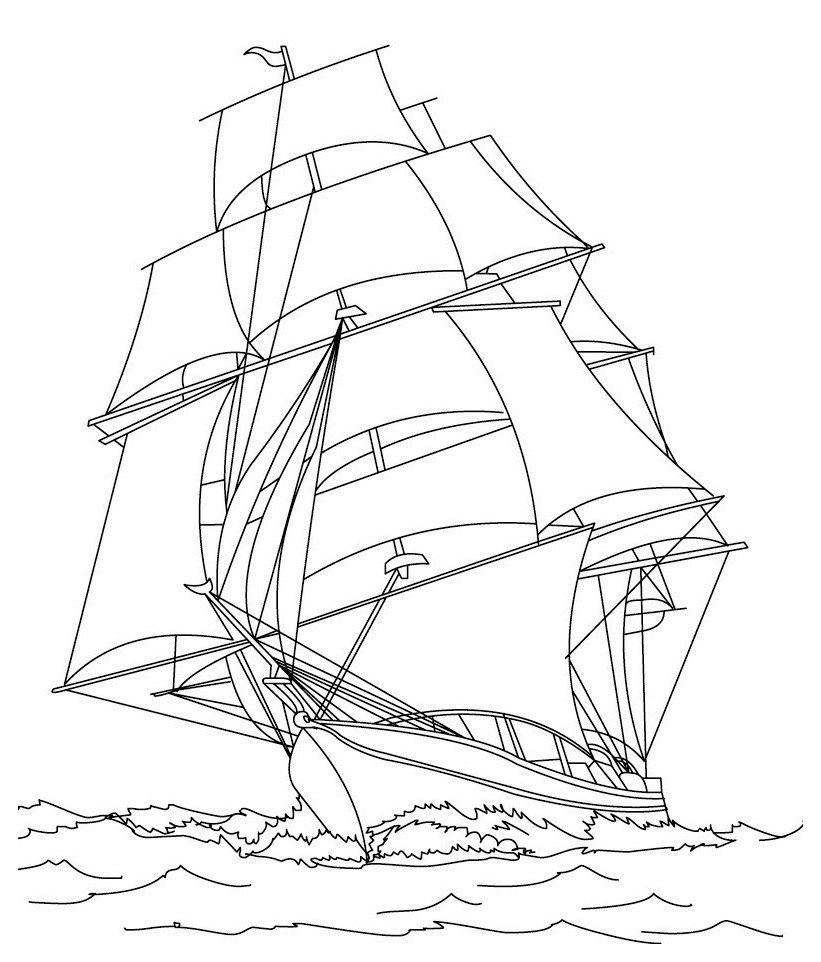 Корабль - Картинка для раскрашивания красками-гуашью