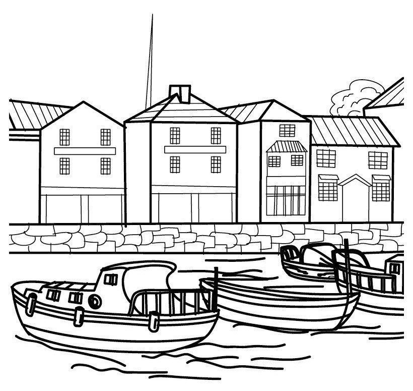 Картинка для раскраски «Корабли в порту»
