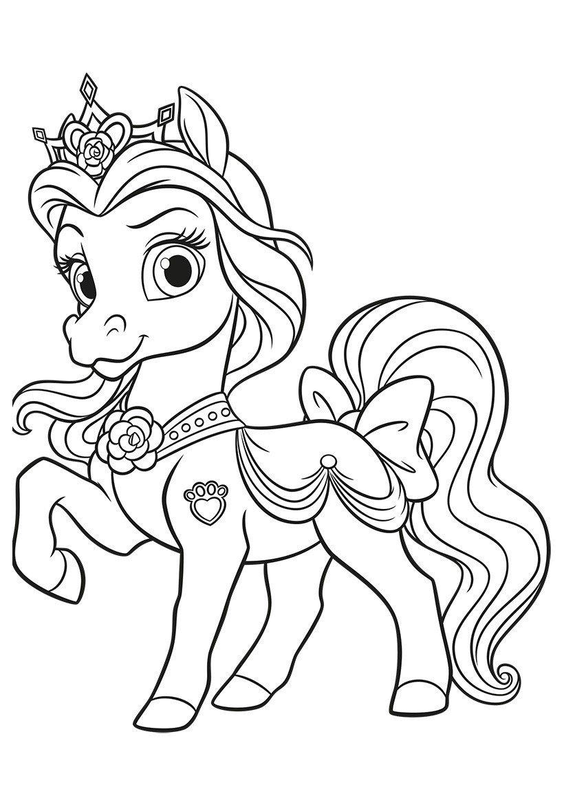 Королевский питомец Белль Невеличка - Картинка для раскрашивания красками-гуашью