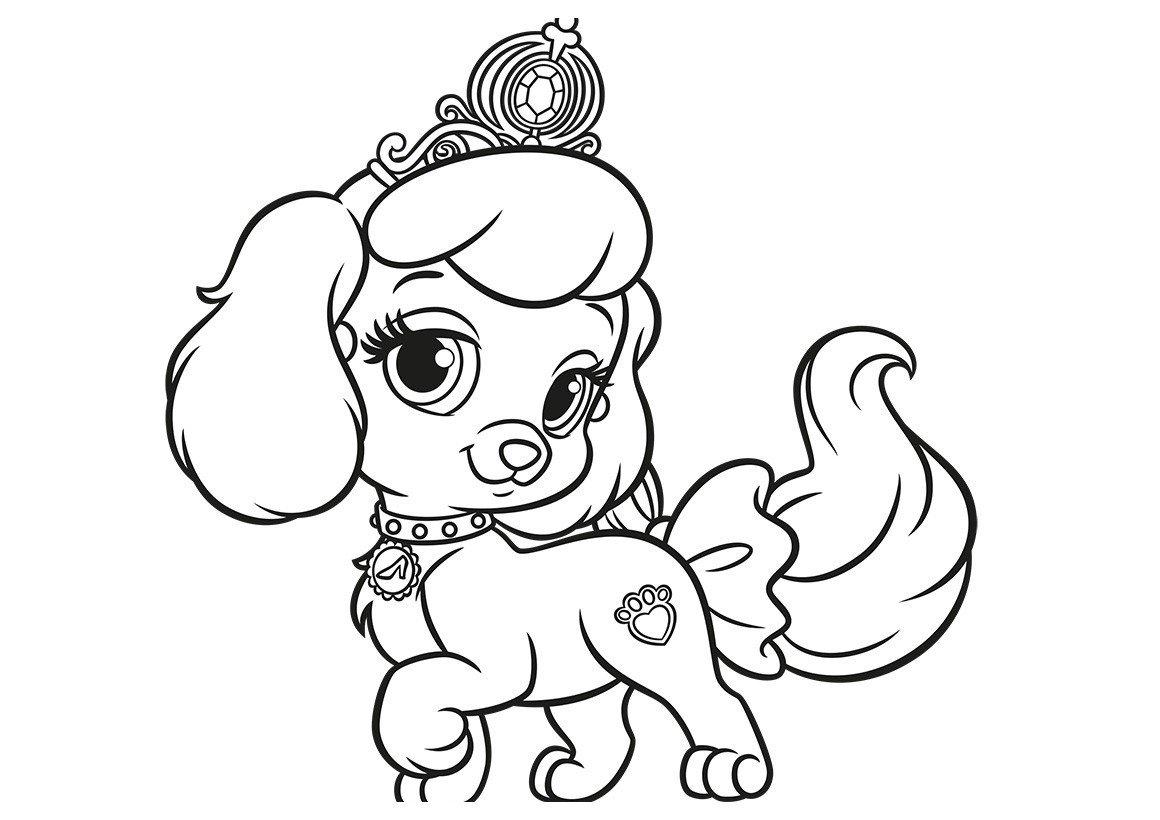 Картинка для раскраски «Королевский питомец Золушки щенок Тыковка»