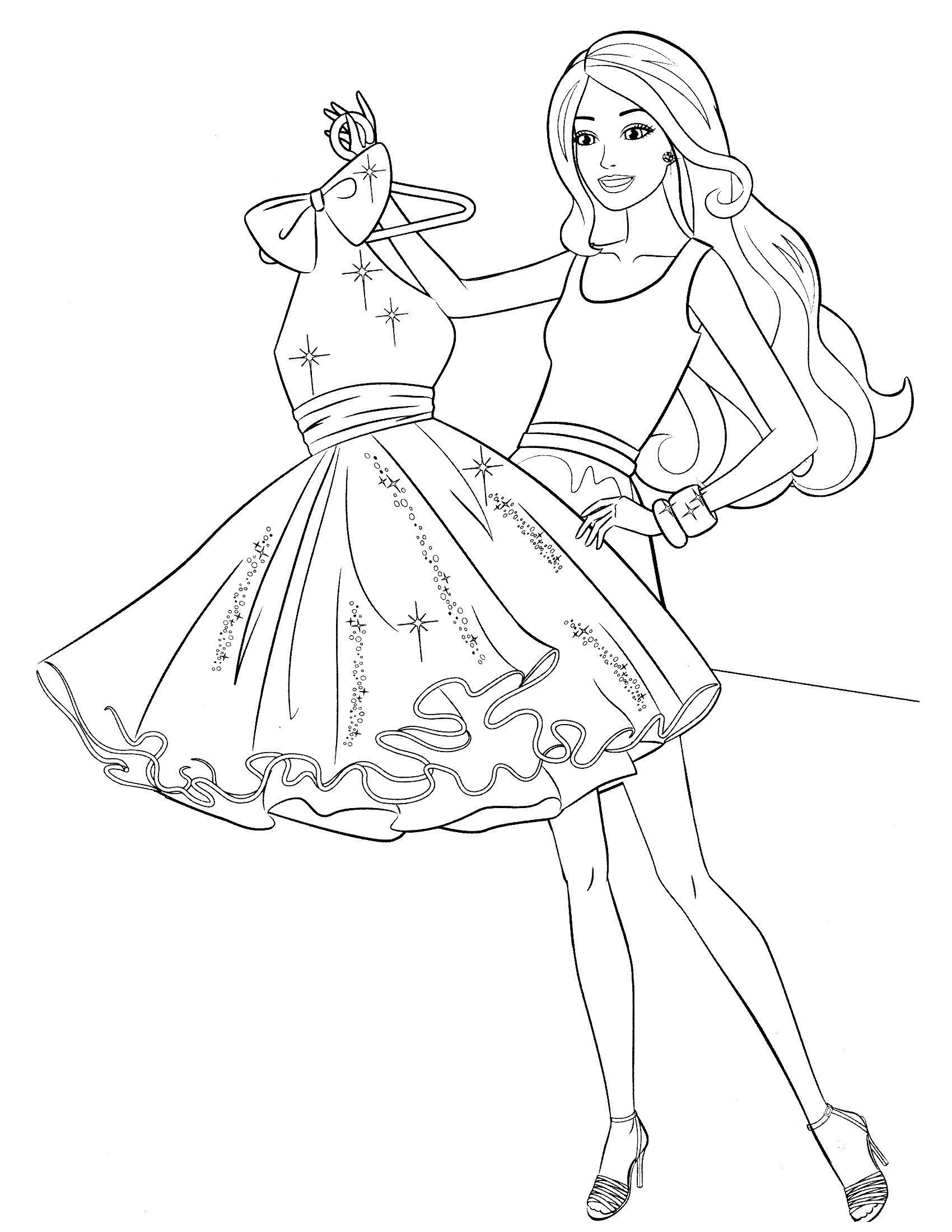 Картинка для раскраски «Короткое платье Барби»