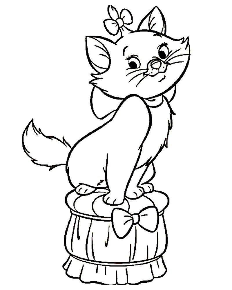 Кошечка на подушке - Картинка для раскрашивания красками-гуашью