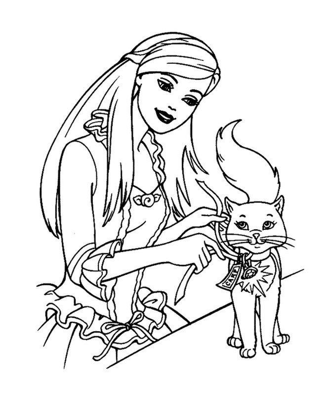 Кошка и Барби - Картинка для раскрашивания красками-гуашью