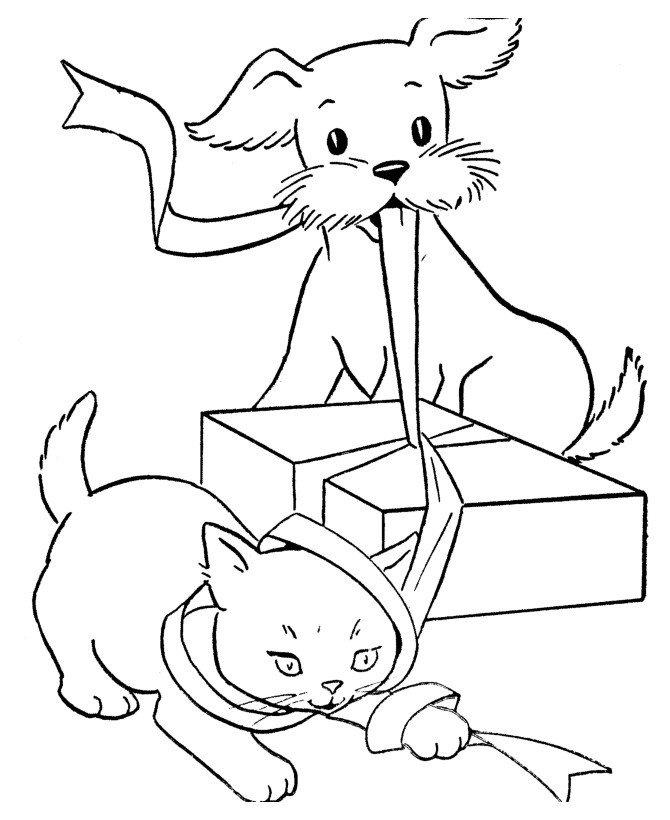 Кошка и собака открывают подарок - Картинка для раскрашивания красками-гуашью