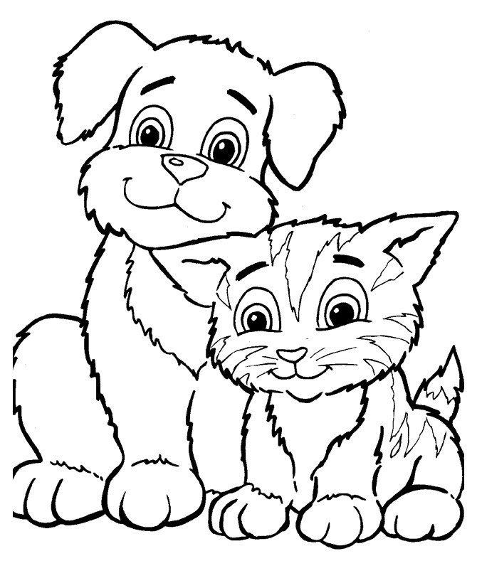 Кот и собака - Картинка для раскрашивания красками-гуашью
