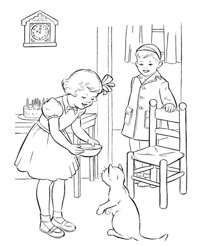 Кот стоит на задних лапках - Картинка для раскрашивания красками-гуашью