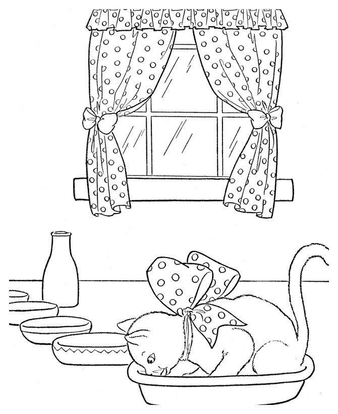 Кот залез в миску - Картинка для раскрашивания красками-гуашью