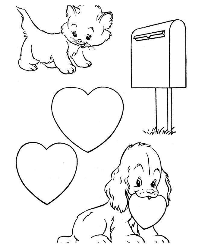 Котик и собачка с сердечками - Картинка для раскрашивания красками-гуашью