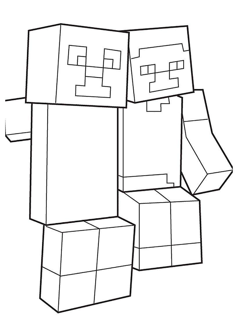 Крипер и Стив - Картинка для раскрашивания красками-гуашью
