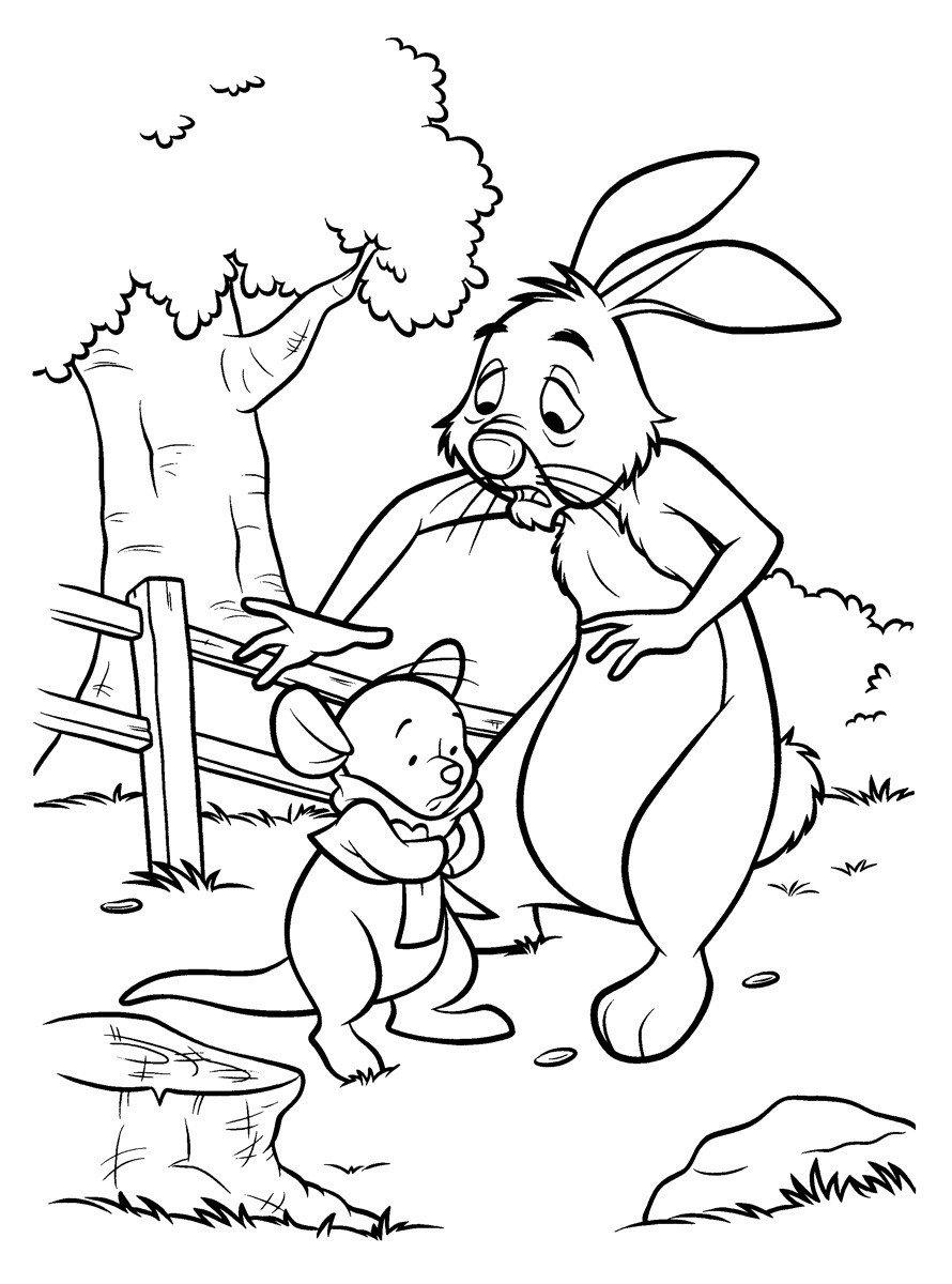 Кролик и Крошка Ру - Картинка для раскрашивания красками-гуашью