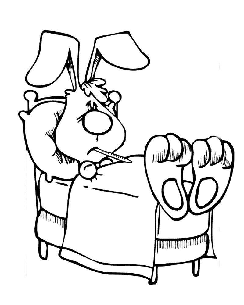Кролик приболел - Картинка для раскрашивания красками-гуашью