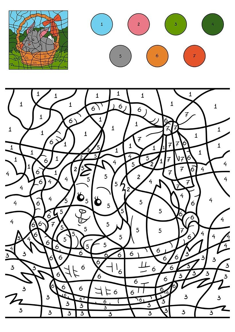Картинка для раскраски «Кролик в корзинке по цифрам»