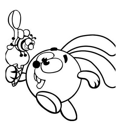 Картинка для раскраски «Крош с пчелой»