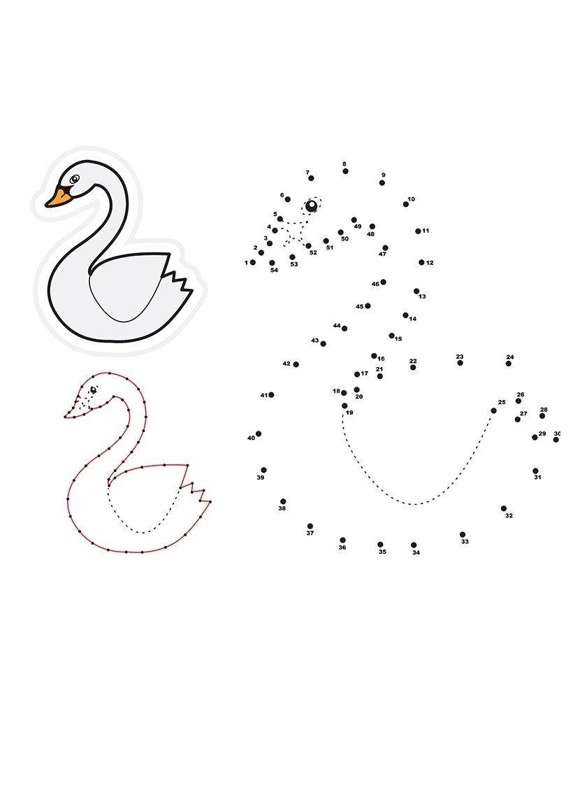 Картинка для раскраски «Лебедь по точкам»