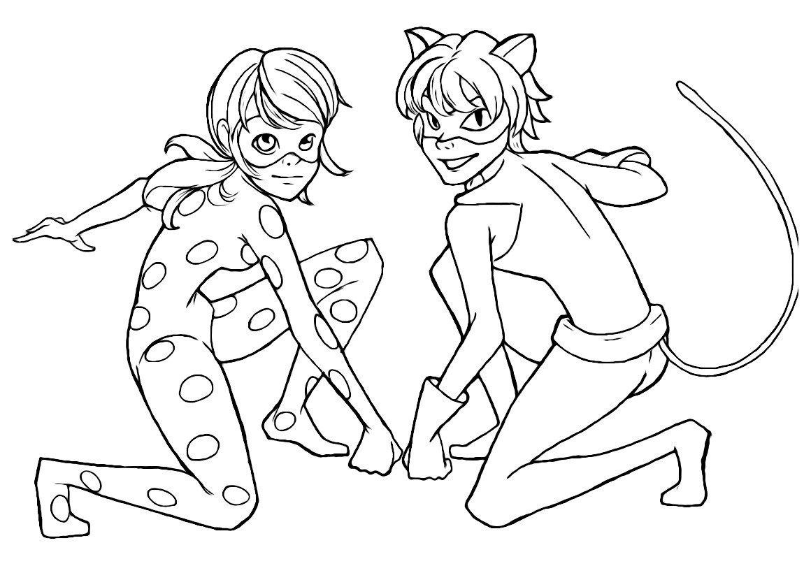 Леди Баг и Супер Кот - Картинка для раскрашивания красками-гуашью